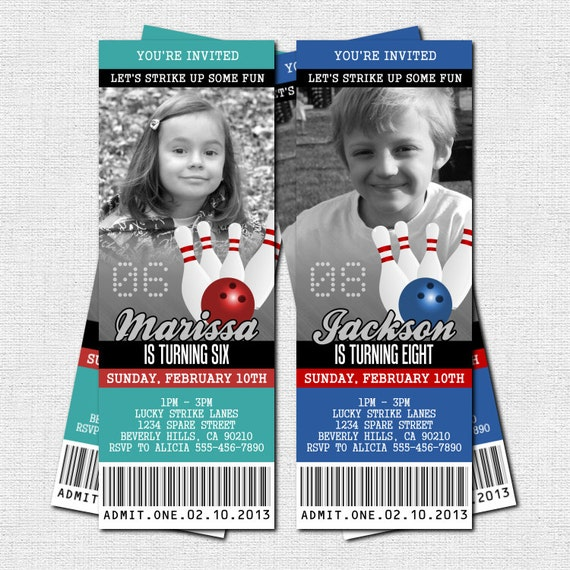 bowling ticket invitations birthday party print your own etsy