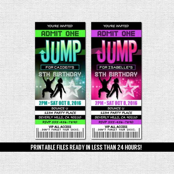 Jump Ticket Invitations Bounce House Trampoline Park Etsy