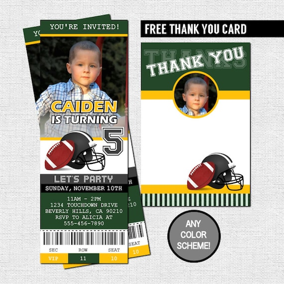 Football ticket invitations birthday party thank you card etsy image 0 filmwisefo