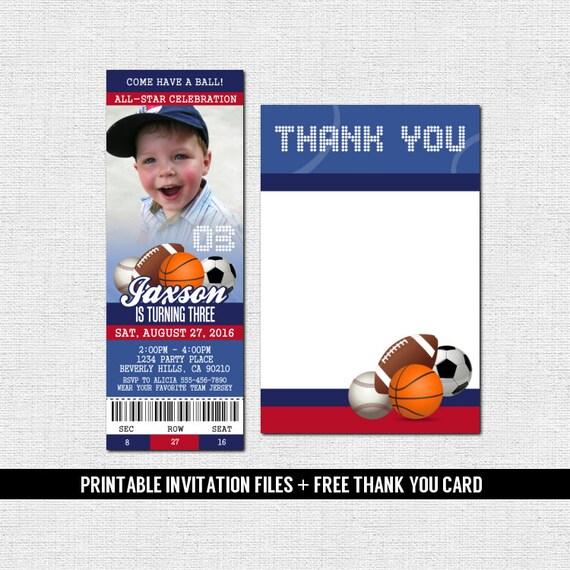 Gracias Tarjeta Deportes Boletos Invitaciones Cumpleaños All Star Imprimir Tu Propio Archivos Imprimibles Personalizados Béisbol Fútbol