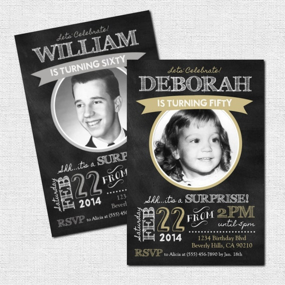 Milestone birthday invitations chalkboard party design any filmwisefo