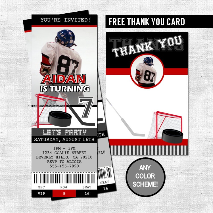 Hockey Ticket Invitations Free Thank You Card Birthday Party Etsy