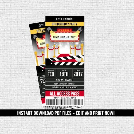 movie hollywood ticket invitations birthday party instant