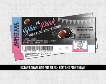 Football Gender Reveal Ticket Invitation Baby Shower Party (Instant Download) Editable Printable PDF File