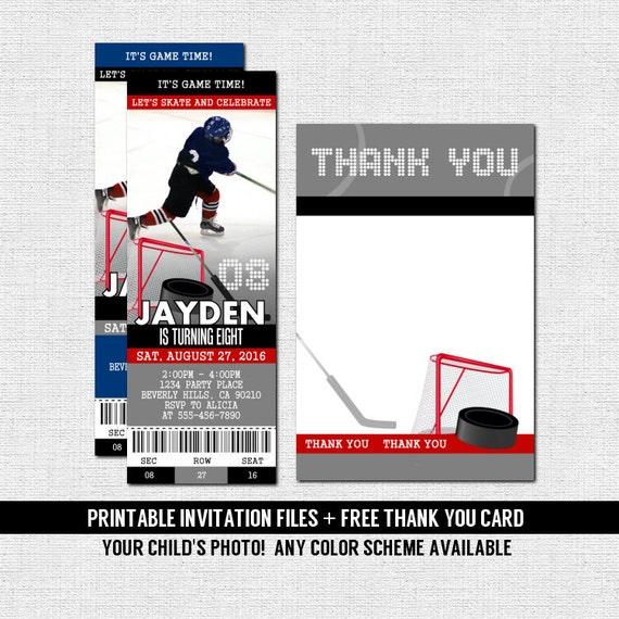 Hockey Ticket Invitations Skate Birthday Party Bonus Thank Etsy