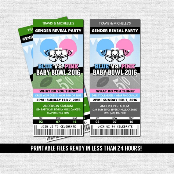 Gender Reveal Ticket Invitation Football Baby Shower Party Diaper Raffle Print Your Own Personalized Printable Files Admit One