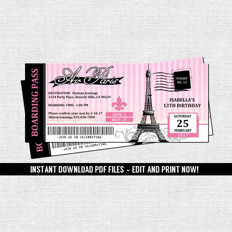 Paris Boarding Pass Invitations Parisian Birthday Party Etsy