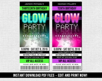 Glow Party Invitations - Ticket Style Neon Birthday Party - (Instant Download) Editable and Printable PDF Files
