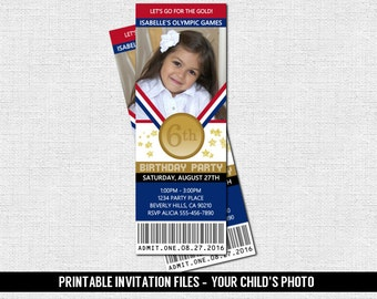 OLYMPICS TICKET INVITATIONS Birthday Party Gold Medal Gymnastics - (print your own) Personalized Printable Files - Olympic Sports