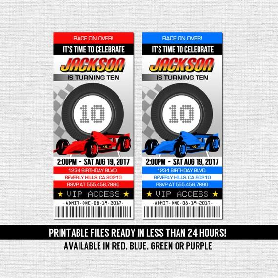race car ticket invitations birthday party go kart racing etsy