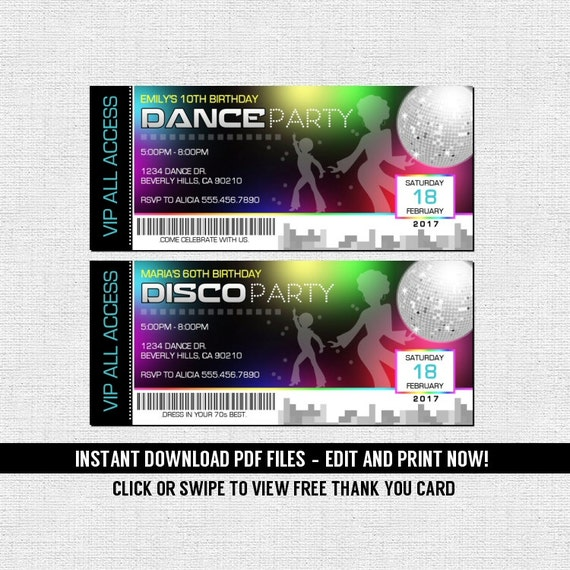 dance 70 s disco ticket invitations birthday party etsy
