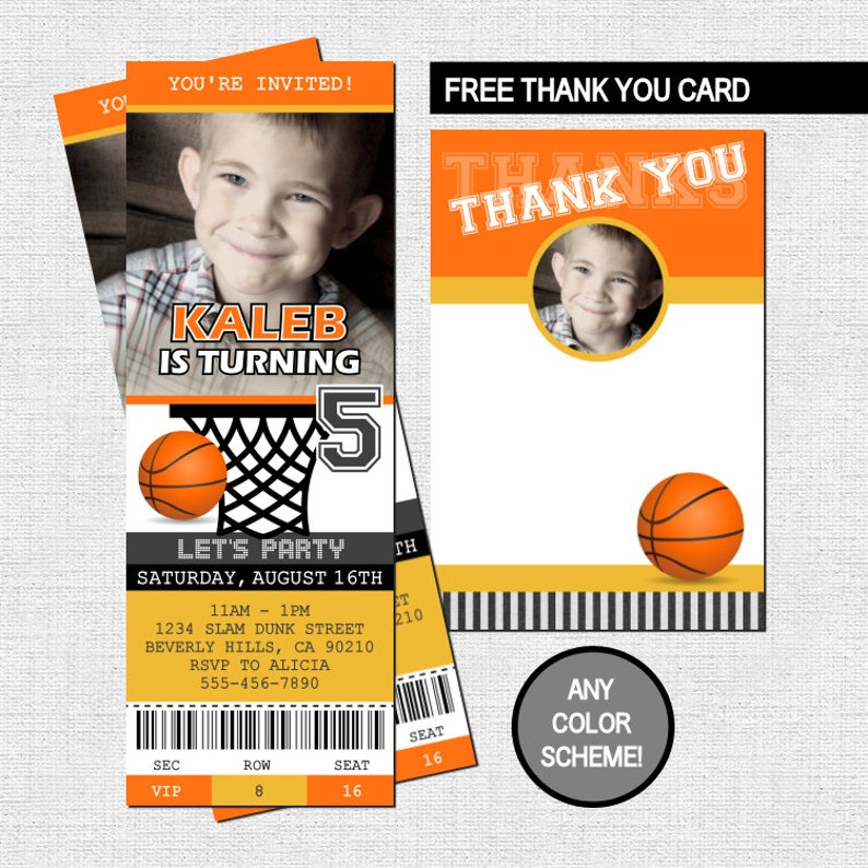 BASKETBALL TICKET INVITATIONS Birthday Party Thank You Card