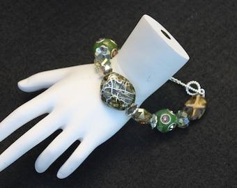 Shades of Green Big Bead Bracelet