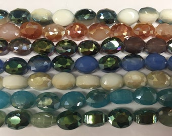25pcs 8mmX6mm Exquisite Oval Faceted Glass Loose Spacer Beads Jewelry Making
