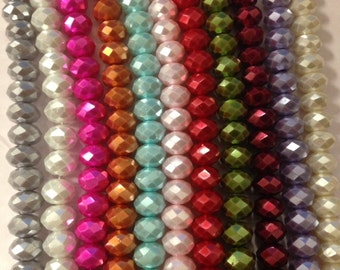 6mm rondelle glass crystals beads with pearl coating