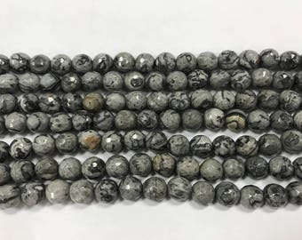 8mm silver crazy lace agate, faceted beads, around 45 beads