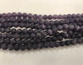 8mm matte round amethyst beads, around 45beads, genuine gemstone