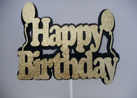 Black And Gold Cake Topper Happy Birthday