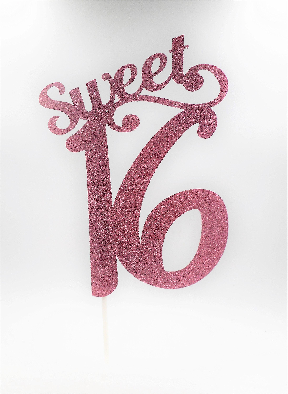 Sweet Sixteen Cake Topper, Pink 16 Cake Topper, Glitter ...