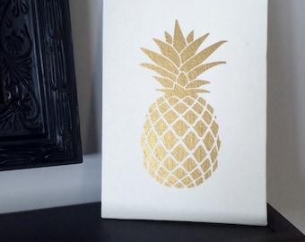 Pineapple Wall Art, Pineapple Sign, Pineapple Canvas Art, Pineapple Decor, Golden Pineapple kitchen decor, tropical decor, Pineapple decor