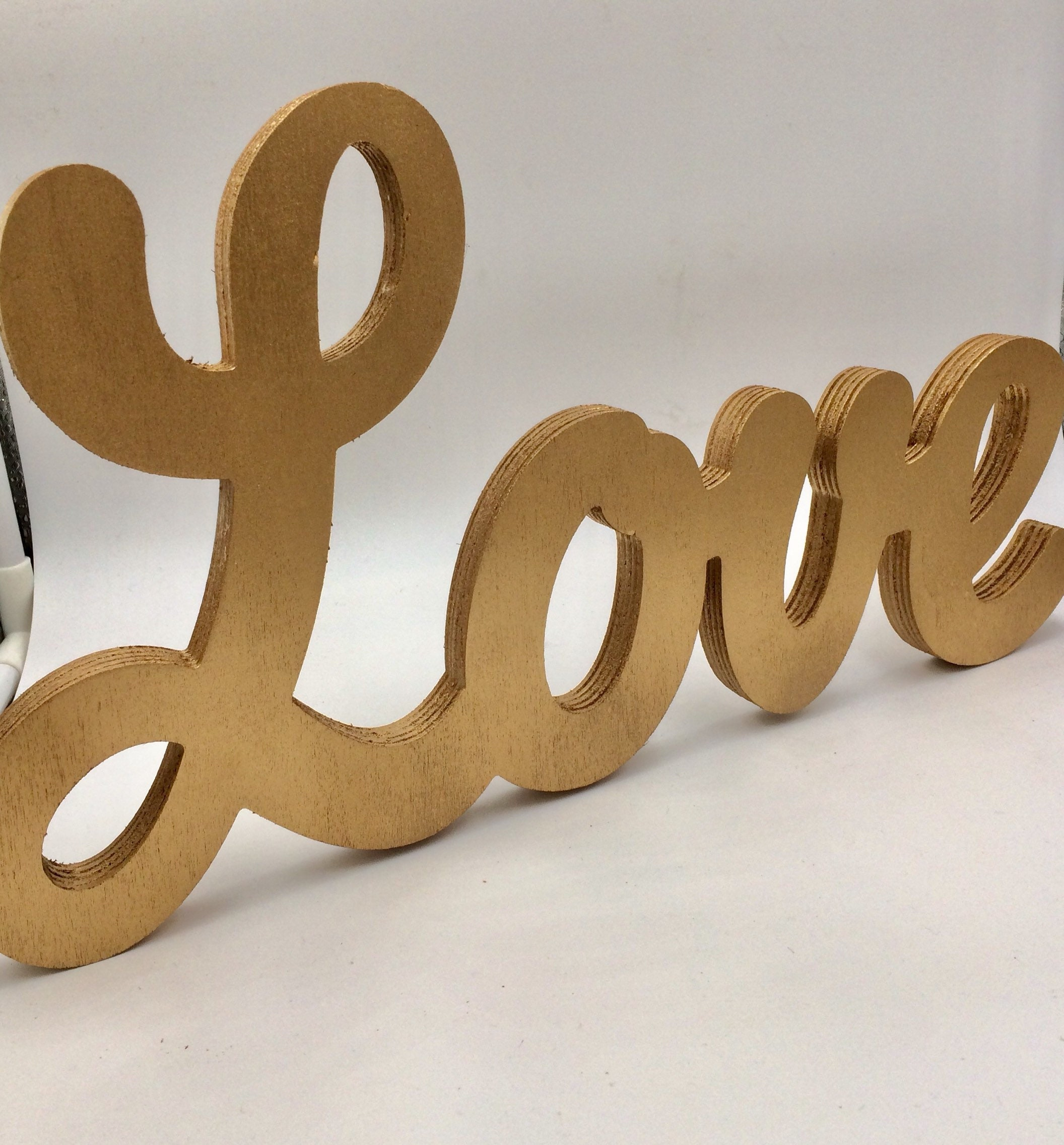 Love Sign, Love Wood Script, shelf decor, gold letter
