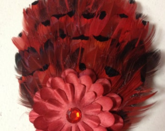 Red Flower Feather Hair Clip, Feather hair clip, Feather hair accessories, Red Feather Hairpiece