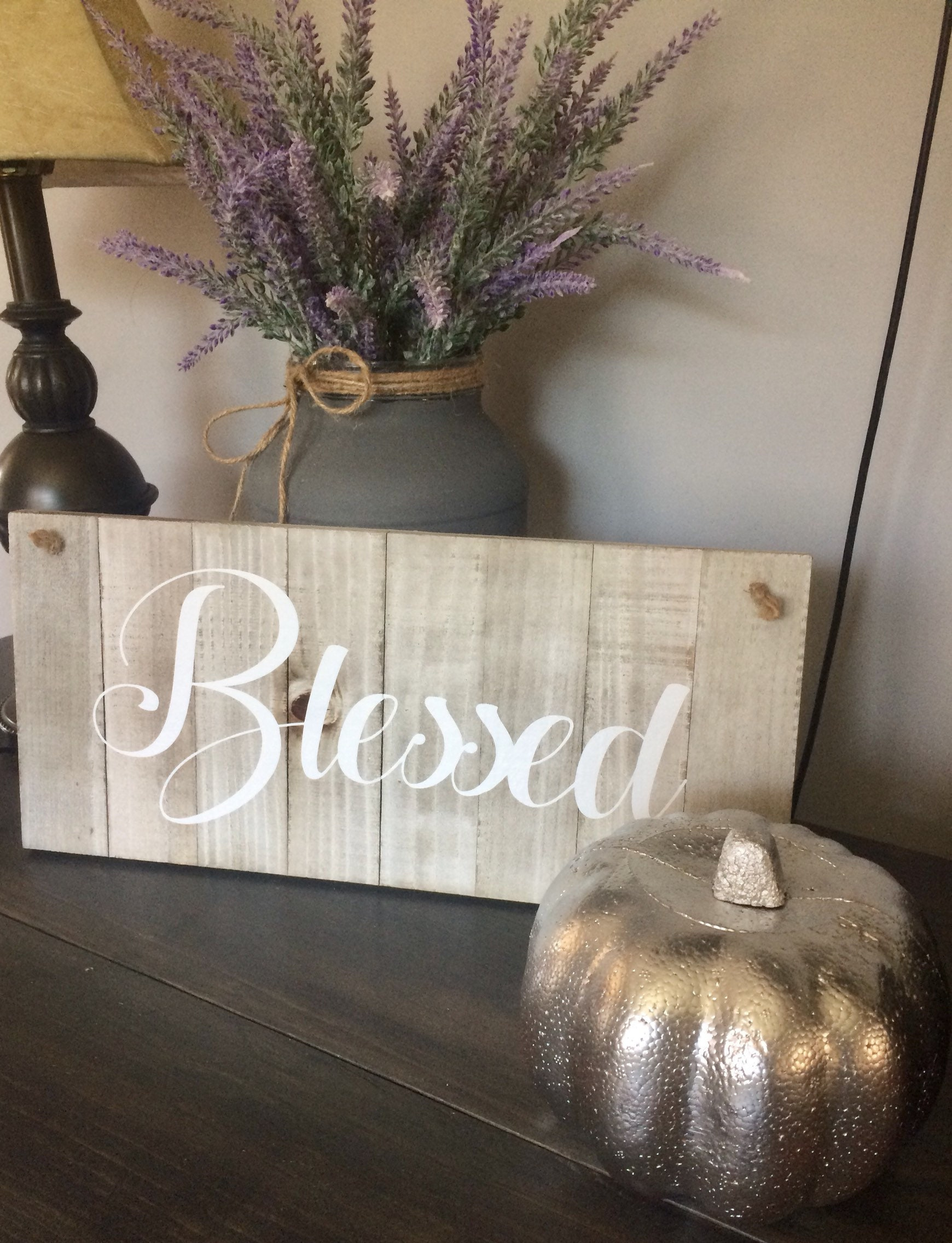 Blessed Wood Wall Sign Grey Washed Decor Farmhouse Decor