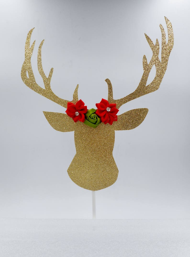 Gold Deer Cake Topper Christmas Decorations Christmas Cake Topper Christmas Decor Deer Cake Topper Glitter Cake Topper Boho Christmas