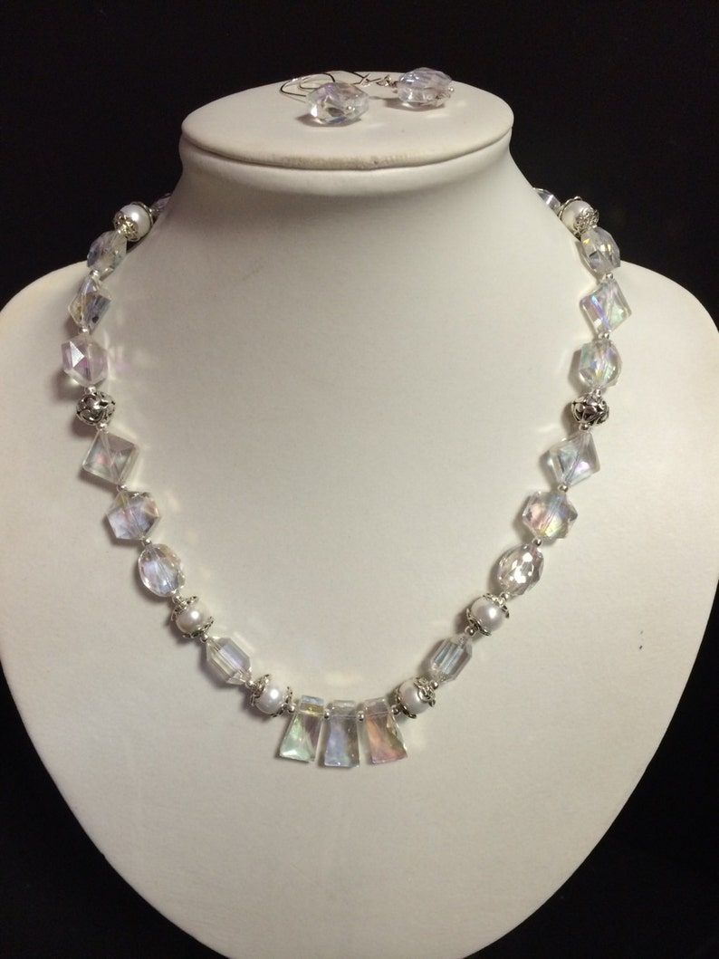 Jewelry set Faceted AB Crystal Faux Pearl Bridal Necklace /& Earring Set Prom Necklace Crystal Necklace Bridal Jewelry Prom Jewelry