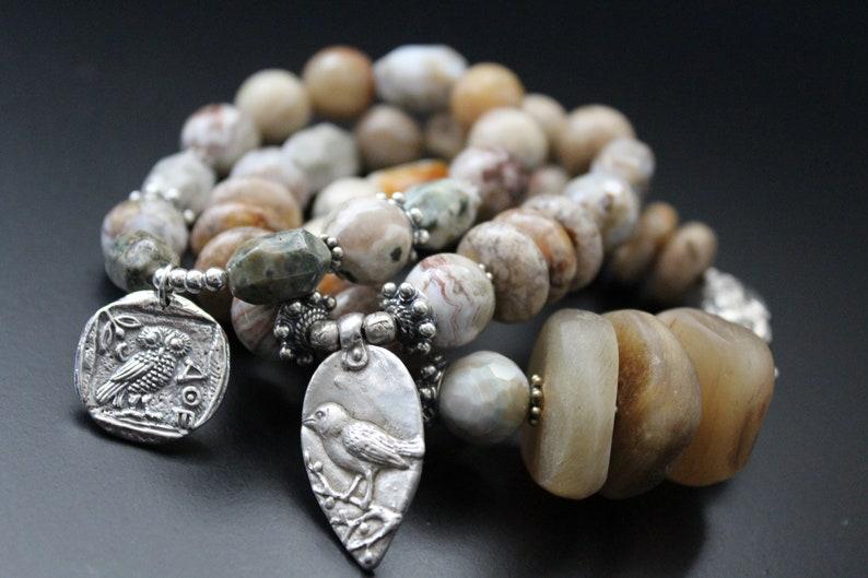 Sterling Athena/'s owl charm with gemstones bracelet spiritual mythical owl neutral color woodland jewelry SALE Originally 89.00 Now 71.00