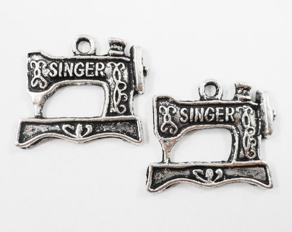 Sewing Machine Charms 19x16mm Antique Silver Sewing Machine Charms, Sewing Machine Pendants, Sewing Charms, Metal Charms Craft Supplies 10pc