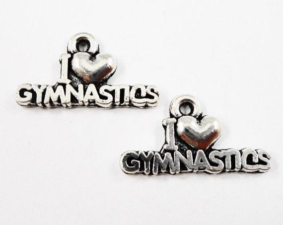 I Love Gymnastics Charms 19x10mm Antique Silver Gymnastics Pendants, I Heart Gymnastics, Sport Charms, Metal Charms, Craft Supplies, 10pcs