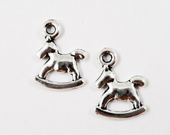 Toy Horse Charms 14x10mm Antique Silver Rocking Horse Charms, Tiny Toy Horse Pendants, Baby Toy Charms, Metal Charms, Craft Supplies, 10pcs
