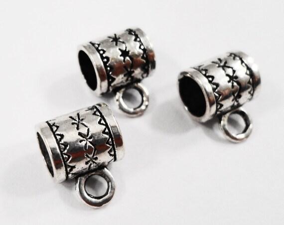 Silver Jewelry Bails 10x8mm Antique Silver Bails, Large Bails, Charm Bracelet Bails, Necklace Pendant Bails, Jewelry Findings, 10pcs