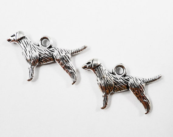 Labrador Retriever Charms 20x16mm Antique Silver Dog Charms, Labrador Charms, Double Sided Dog Pendants, Pet Charms, Metal Charms, 10pcs
