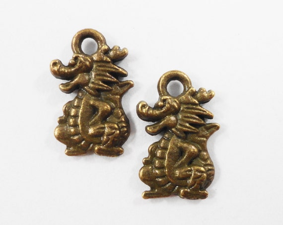Bronze Dragon Charms 15x9mm Antique Brass Dragon Charms, Double Sided Small Dragon Pendants, Mythical Charms, Fantasy Animal Charms, 10pcs