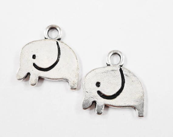 Small Elephant Charms 12x11mm Antique Silver Elephant Pendants, Animal Charms, Tiny Silver Metal Charms for Jewelry Making, 10pcs