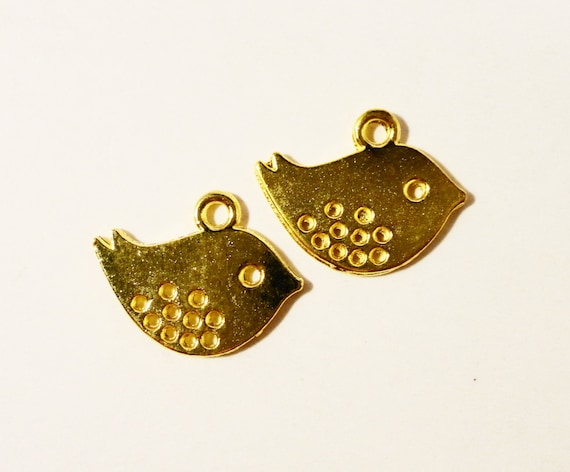 Gold Bird Charms 16x13mm Antique Gold Metal Small Double Sided Small Bird Pendant Charm Jewellery Making Jewelry Findings 10pcs