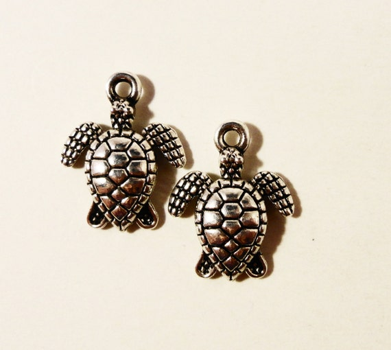 Sea Turtle Charms 16x14mm Antique Tibetan Silver Metal Charms Reptile Nautical Charms Turtle Pendants Jewelry Making Jewelry Findings 10pcs