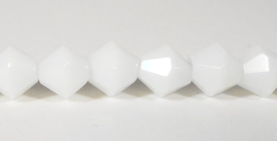 """Bicone Crystal Beads 6mm Opaque Porcelain White Faceted Chinese Crystal Glass Beads for Jewelry Making on an 11 3/4"""" Strand with 50 Beads"""