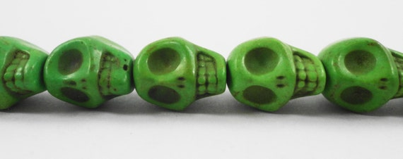 "Green Skull Beads 12mm (12x10mm) Lime Green Stone Skull Beads, Howlite Gemstone Skull Beads, Skeleton Beads on a 7 1/2"" Strand with 16 Beads"