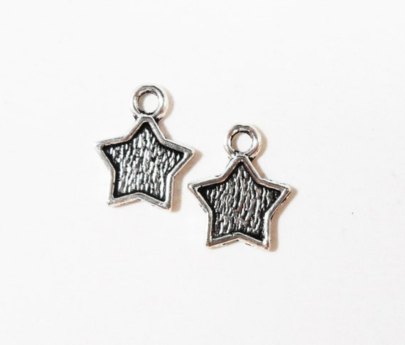 Silver Star Charms 12x9mm Antique Tibetan Silver Metal Small Star Charms, Star Drops, Star Pendants, DIY Jewelry Making Craft Supplies 15pcs