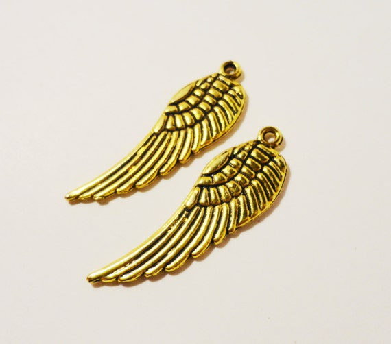 Gold Wing Charms 30x10mm Antique Gold Tone Metal Feather Charms Wing Pendant Jewelry (Jewellery) Making Findings Craft Supplies 10pcs