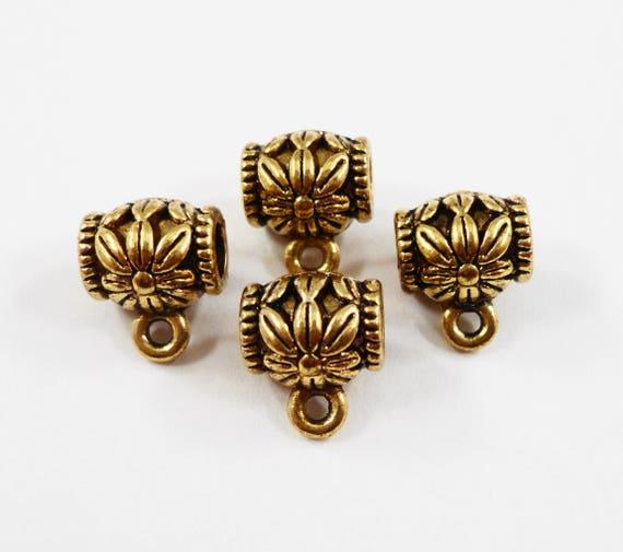 Gold Jewelry Bails 9x8mm Antique Gold Bails, Gold Flower Bails, Metal Bails, Necklace Bails, Bracelet Bails, Jewelry Findings, 10pcs