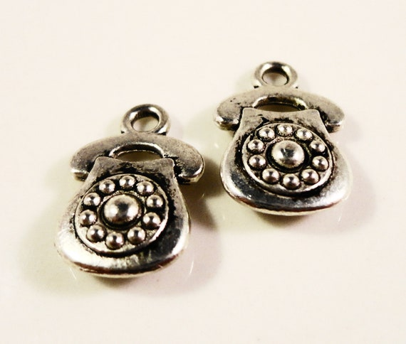 Silver Phone Charms 14x9mm Antique Silver Metal Charms Retro Rotary Telephone Charms Double Sided Phone Pendants DIY Jewelry Making 10pcs