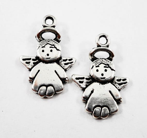 Antique Silver Angel Charms 18x12mm Silver Angel Pendants, Religious Charms, Guardian Angel Charms, Silver Metal Charms for Jewelry, 10pcs