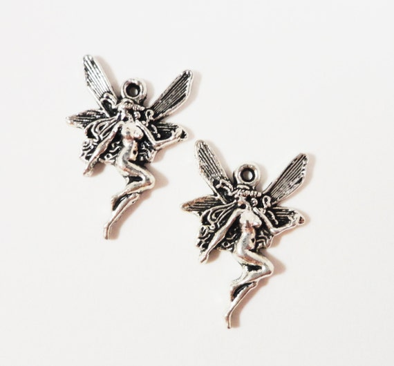 Butterfly Fairy Charms 19x13mm Antique Silver Metal Mythical Faerie Charm Pendant Jewelry Making Jewelry Findings Craft Supplies 10pcs