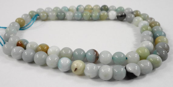 """15"""" Strand Amazonite Stone Beads 6mm Round Flower Amazonite Beads, Natural Multicolor Gemstone Beads on a Full 15 Inch Strand with 62 Beads"""