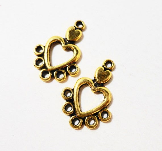 Gold Heart Earring Findings 19x13mm Antique Gold Heart Connector Pendants, Connector Jewelry Findings, Chandelier Earring Connectors, 6pcs