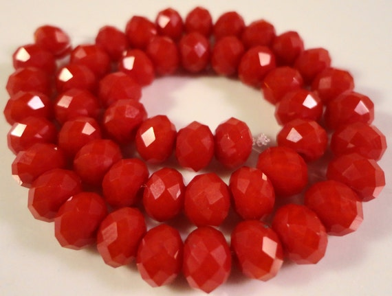 Rondelle Crystal Beads 6x4mm (4x6mm) Opaque Red Faceted Chinese Crystal Glass Beads for Jewelry Making on an 8 1/2 Inch Strand with 49 Beads